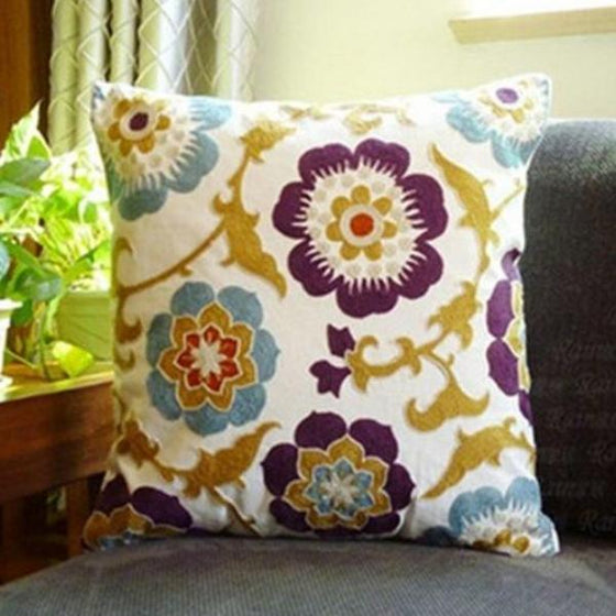 Flowers and Vines Embroidered Pillows