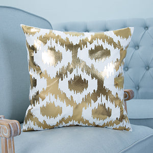Ikat Style Bronze Printed Pillow