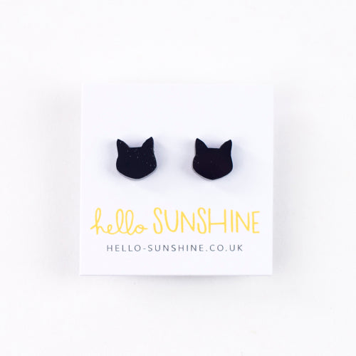 Little Black Cat Studs