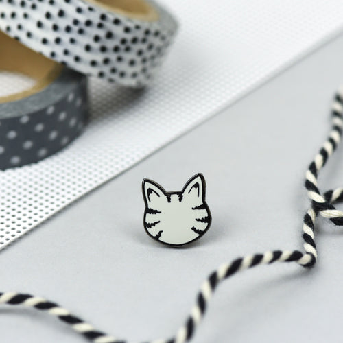 Grey Tabby Cat Pin