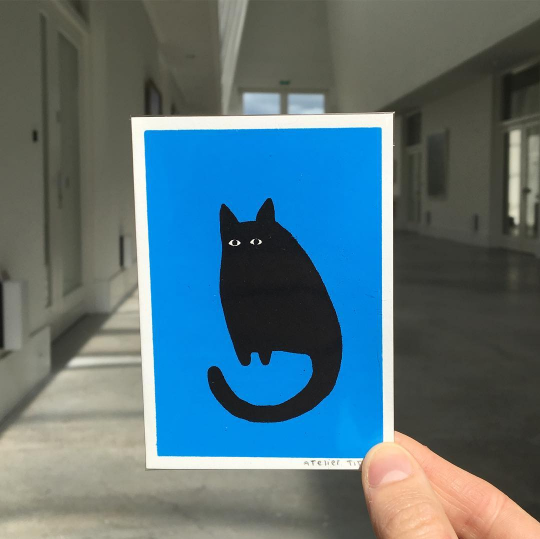 Mini Cat In Blue Print
