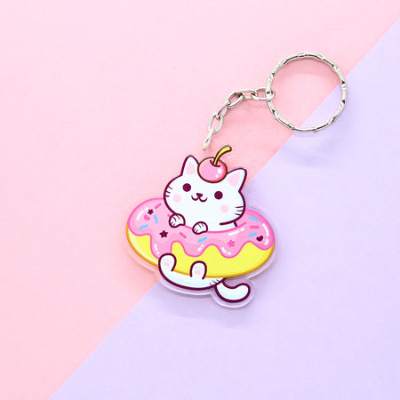 Falling Star Galaxy Cat Acrylic Keychain