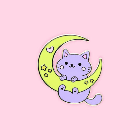 Silver Cat Enamel Pin