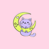 Moon & Stars Galaxy Cat Pin