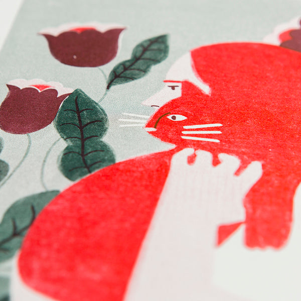 Cat Lady Red Print