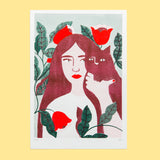 Cat Lady Burgundy Print