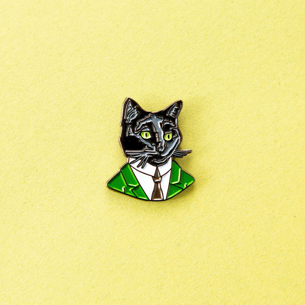 Black Cat Gentleman Enamel Pin