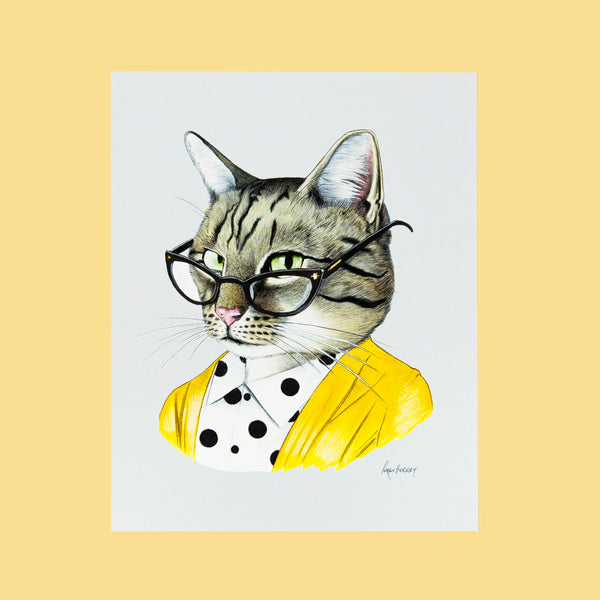 Tabby Cat Lady Print