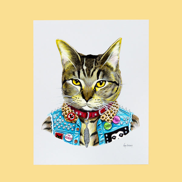 Punk Rock Cat Print