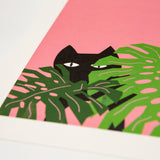 Monstera Cat Print