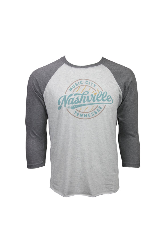 Nashville Music City Six Strings Baseball Tee in Heather Gray/Dark Gray