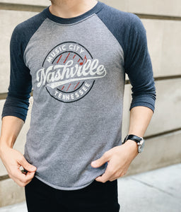 Navy Six Strings Baseball Tee