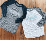 Six Strings Baseball Tee - Light Grey and Navy Versions