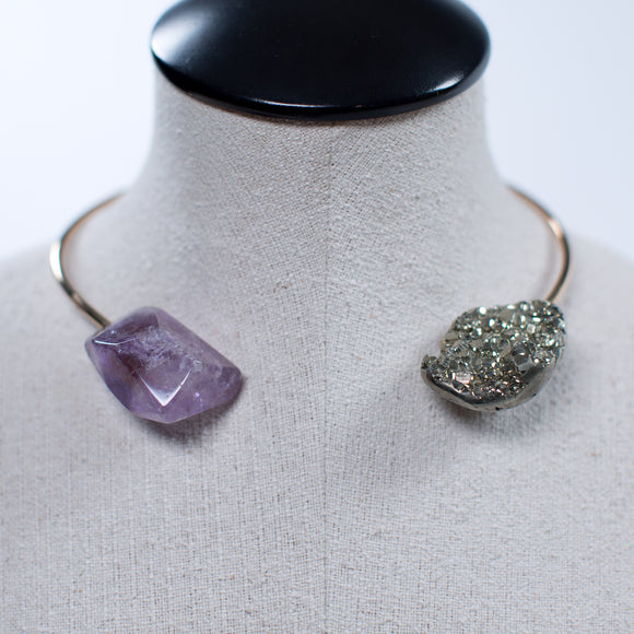 Seraphine Design Pyrite & Amethyst Choker Necklace