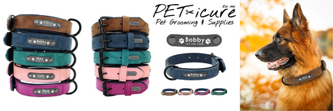 PET-icure Pet Grooming & Supplies Pepperell Massachusetts 01463 Personalized Engraved Luxury Dog Collars Banner