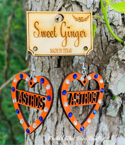 Astros Heart Earrings Jewelry Rockin The Lace Boutique