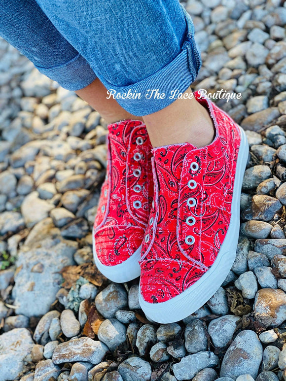 Babalu Red Bandana Shoes Footwear Rockin The Lace Boutique