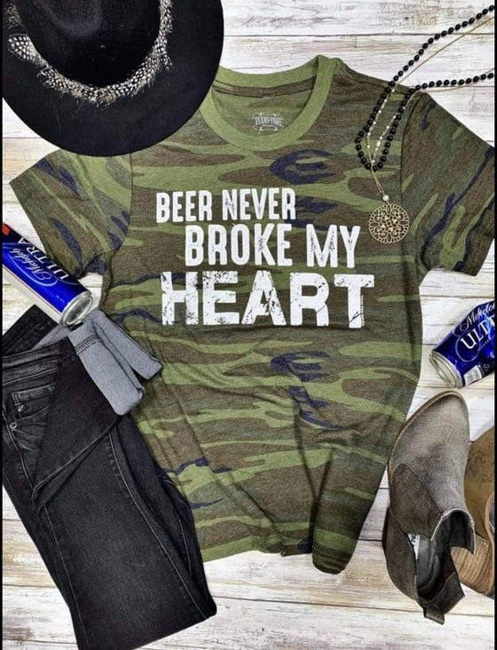 Beer Never Broke My Heart - Camo Tops Rockin The Lace Boutique