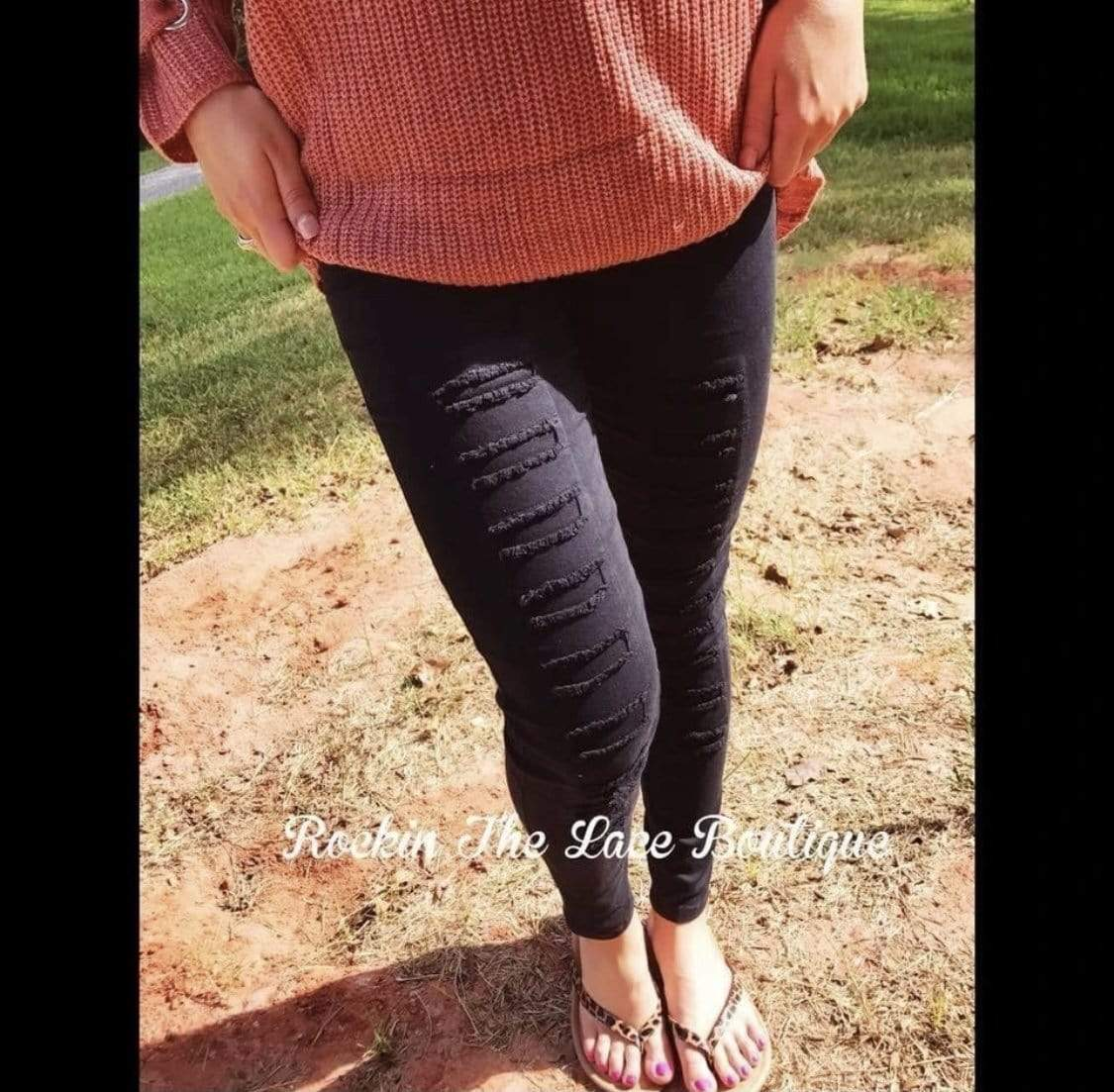 Black Distressed Jeggings Clearance Rockin The Lace Boutique