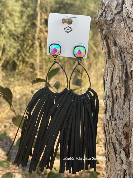 Black Fringe Earring - Clear Stud Jewelry Rockin The Lace Boutique