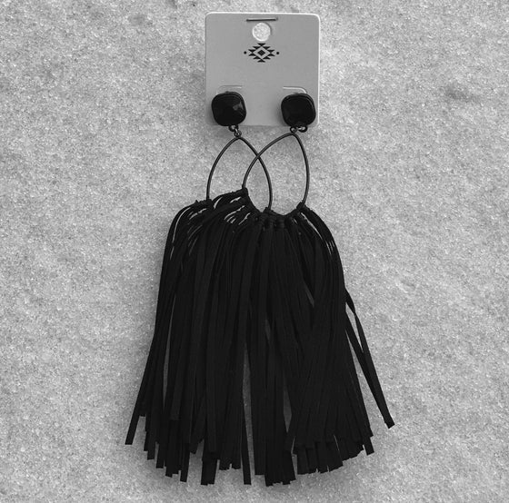 Black Fringe Earring New Rockin The Lace Boutique
