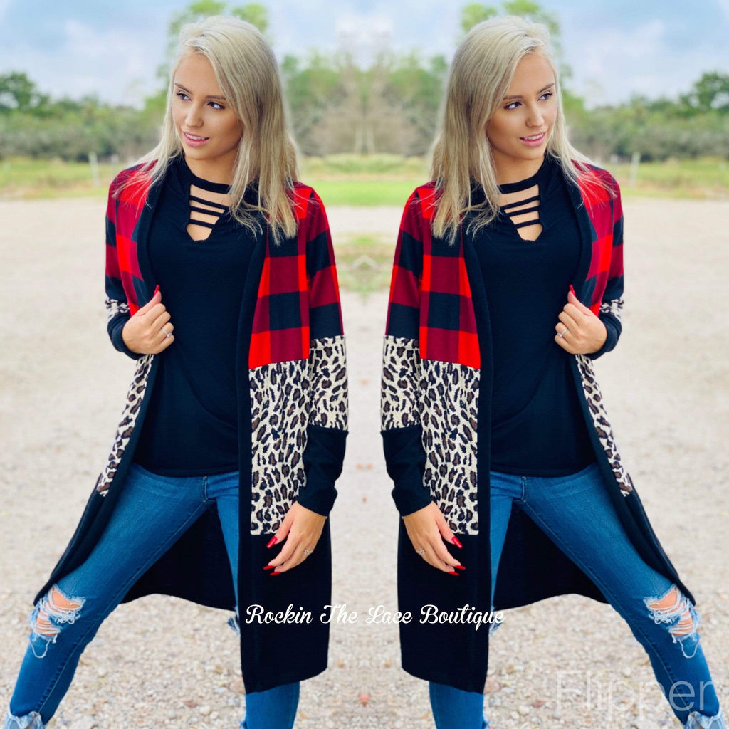 Black Leopard & Plaid Cardigan Cardigans & Jackets Rockin The Lace Boutique