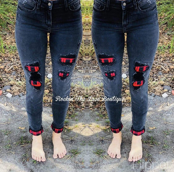 Black Plaid Judy Blue Jeans Clearance Rockin The Lace Boutique