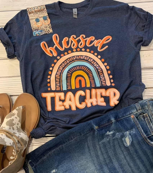 Blessed Teacher tops Rockin The Lace Boutique