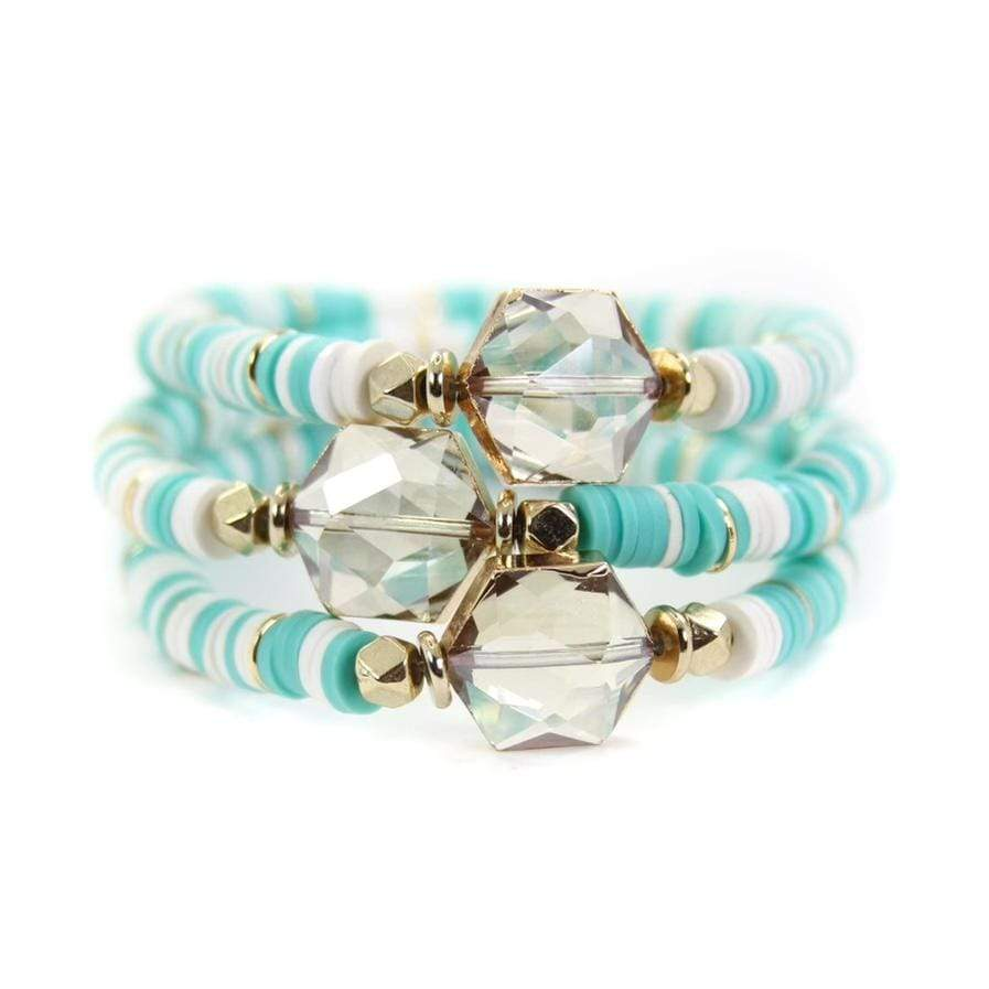 Blue & White Hexagon Bracelet Bracelets Rockin The Lace Boutique