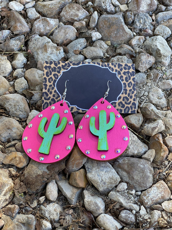 Cactus & Hot Pink Earring Clearance Rockin The Lace Boutique