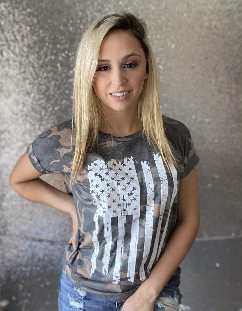 Camo Flag Top Tops Rockin The Lace Boutique