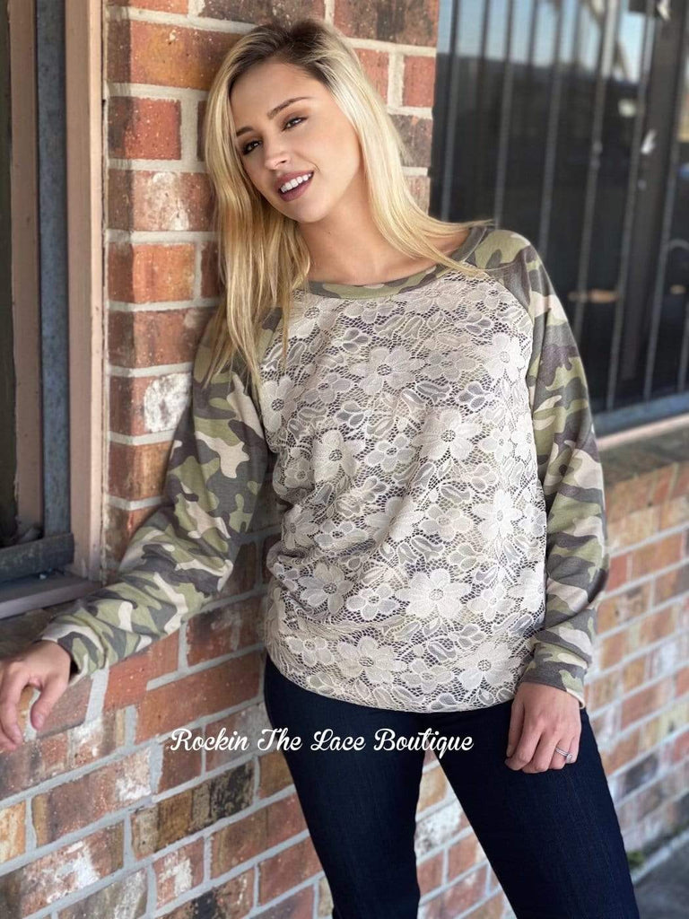 Camo & Lace Pullover Tops Rockin The Lace Boutique