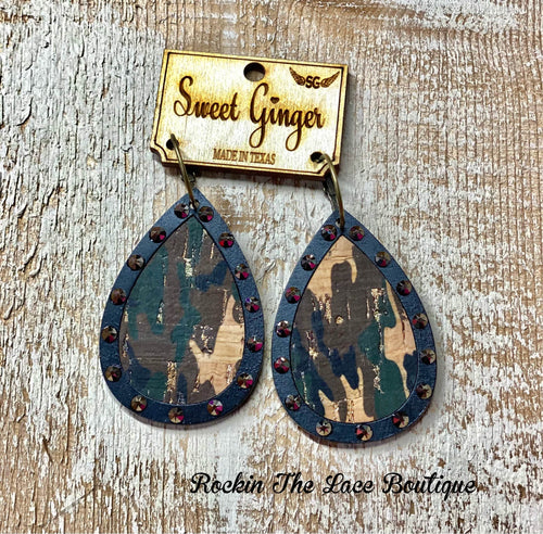 Camo Sweet Ginger Earrings jewelry Rockin The Lace Boutique