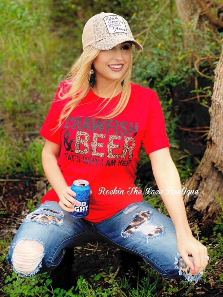 Crawfish & Beer Tee Tops Rockin The Lace Boutique