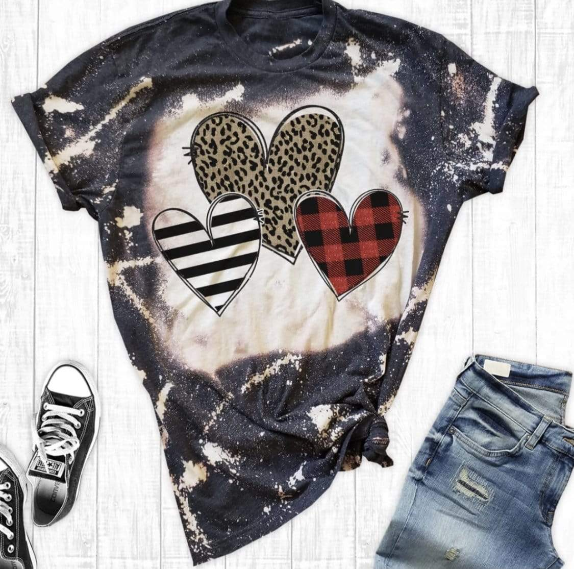 Distressed Hearts Bleached Clearance Rockin The Lace Boutique