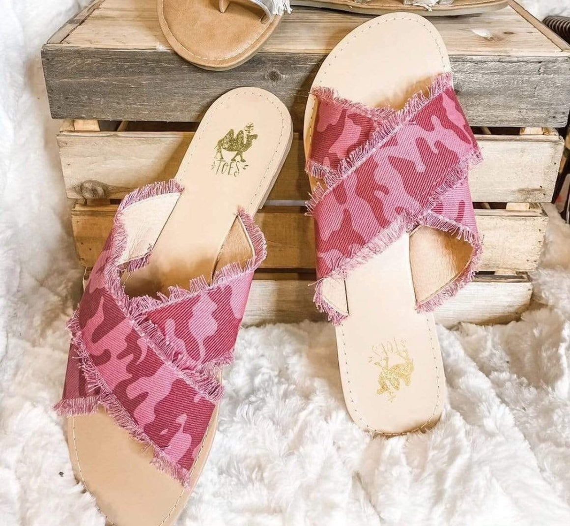 Distressed Pink Camo Sandals Footwear Rockin The Lace Boutique