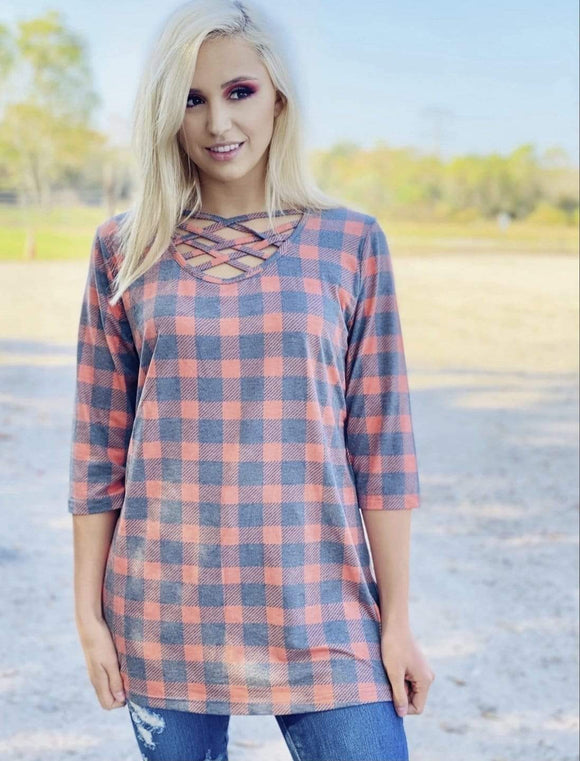 Dusty Red Plaid Tunic Clearance Rockin The Lace Boutique
