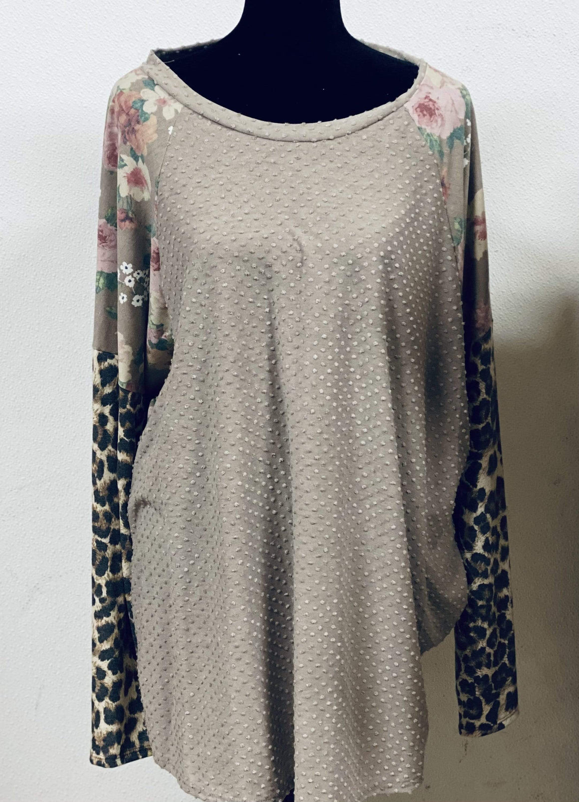 Floral Leopard & Taupe Pom Top Clearance Rockin The Lace Boutique