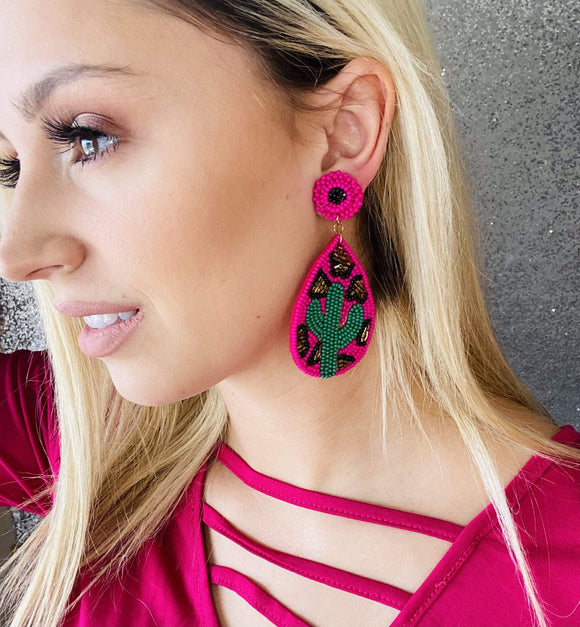 Fuchsia Cactus Earring Jewelry Rockin The Lace Boutique