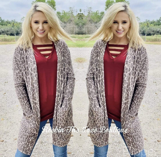 Fuzzy Leopard Cardigan Clearance Rockin The Lace Boutique