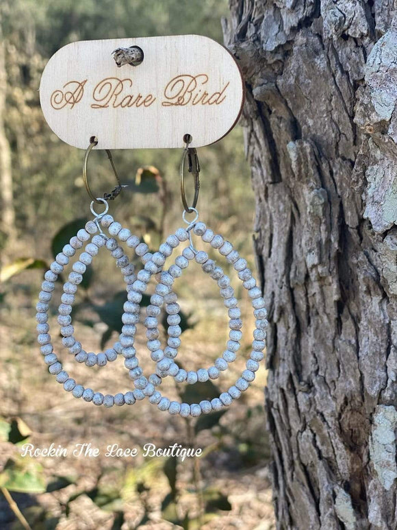 Glitter & White Beaded Double Loop Earrings Rockin The Lace Boutique