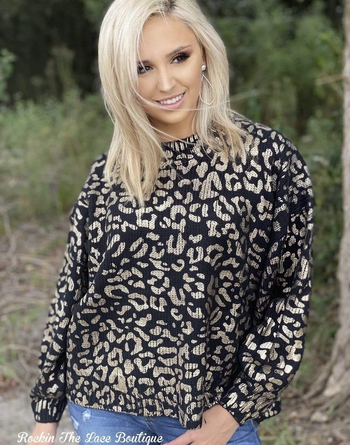 Goldie Leopard Sweater - Black 2X Clearance Rockin The Lace Boutique