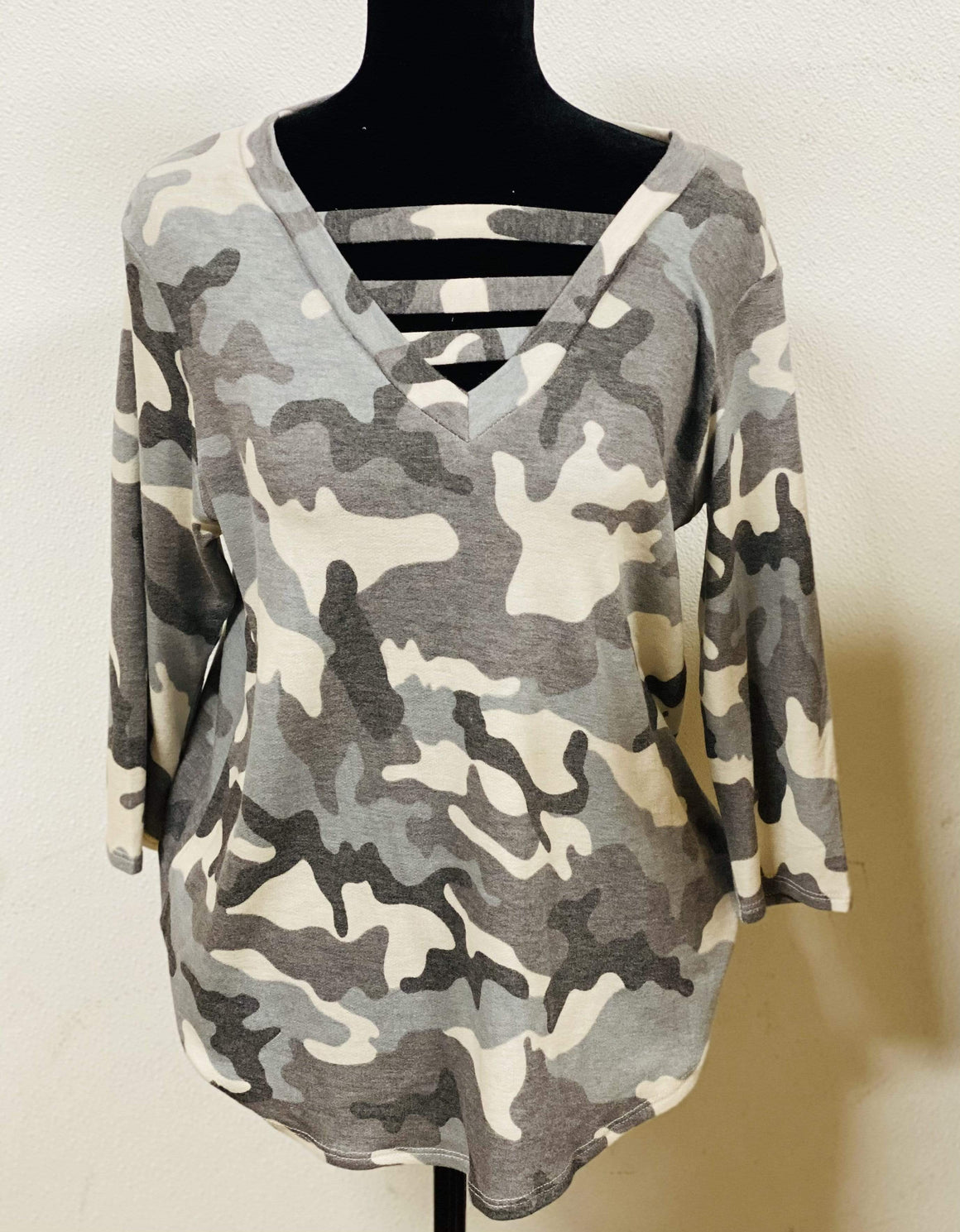 Gray Camo V Neck Clearance Rockin The Lace Boutique
