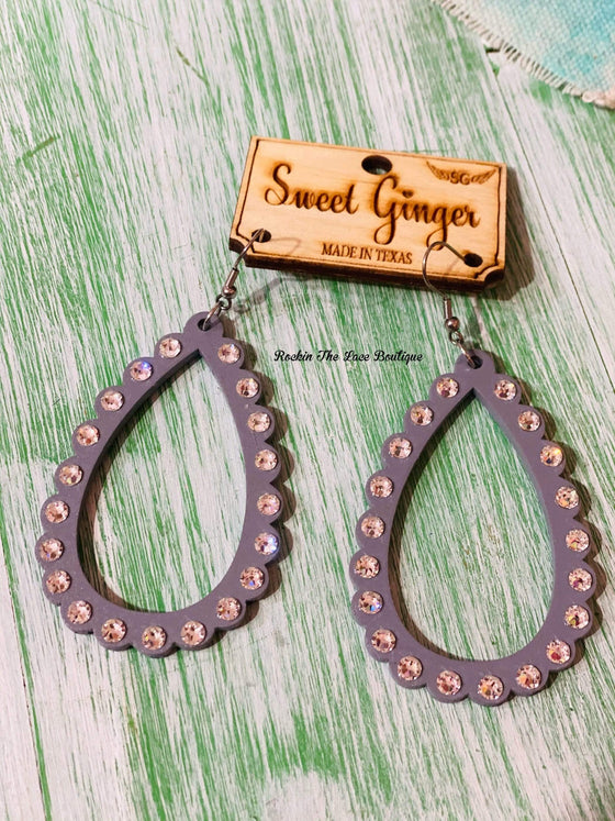 Gray Rhinestone Loops - Sweet Ginger Jewelry Rockin The Lace Boutique