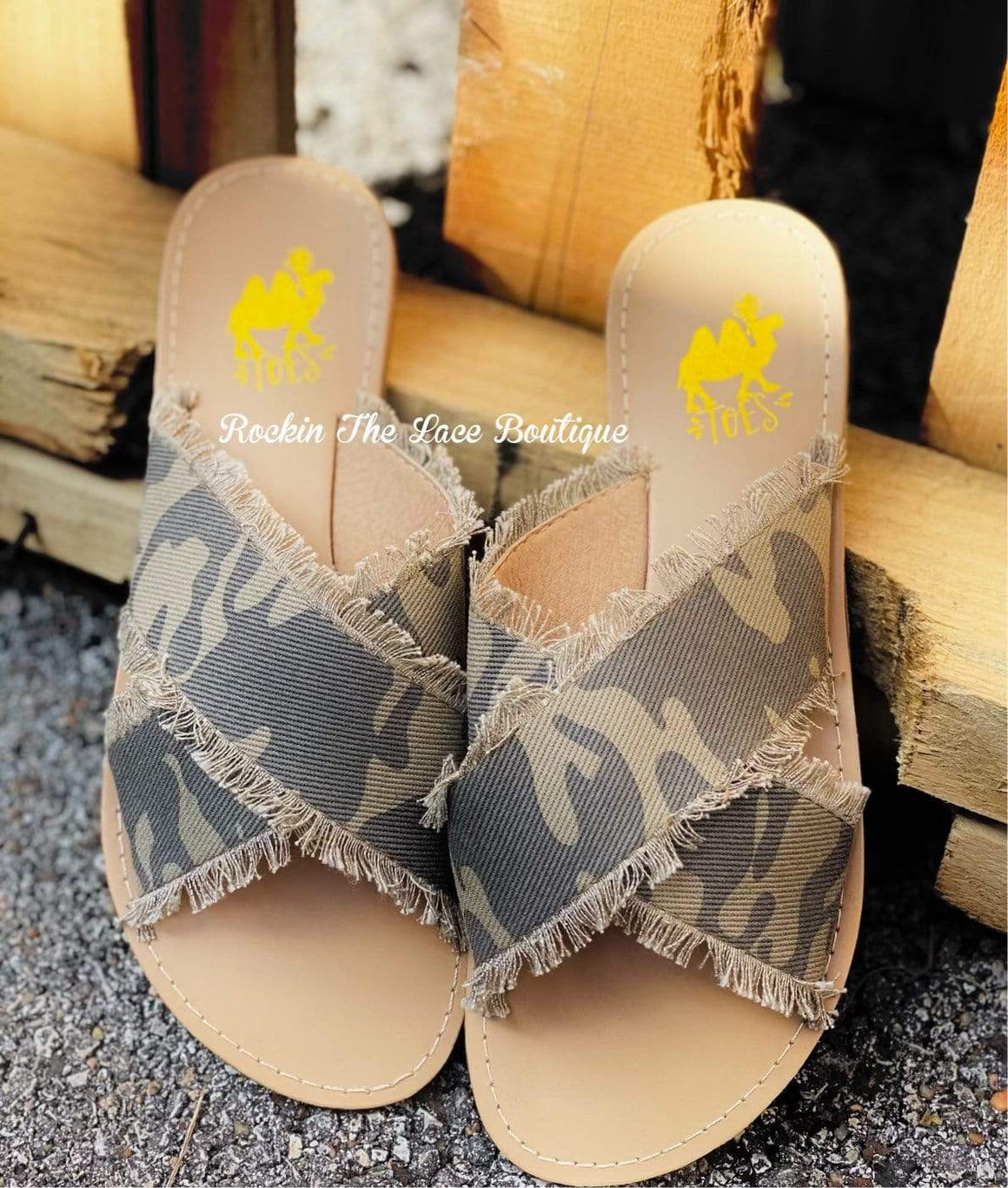 Hunty Camo Sandals Footwear Rockin The Lace Boutique