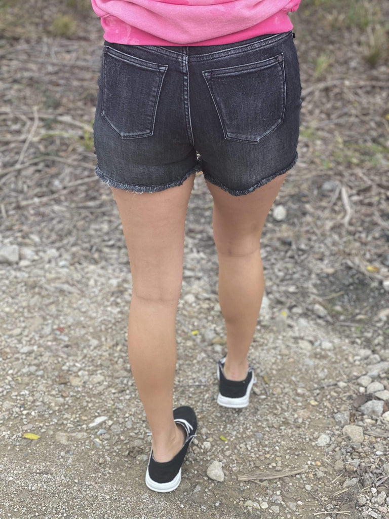 Judy Blue Black Frayed Cut Off Shorts Bottoms Rockin The Lace Boutique