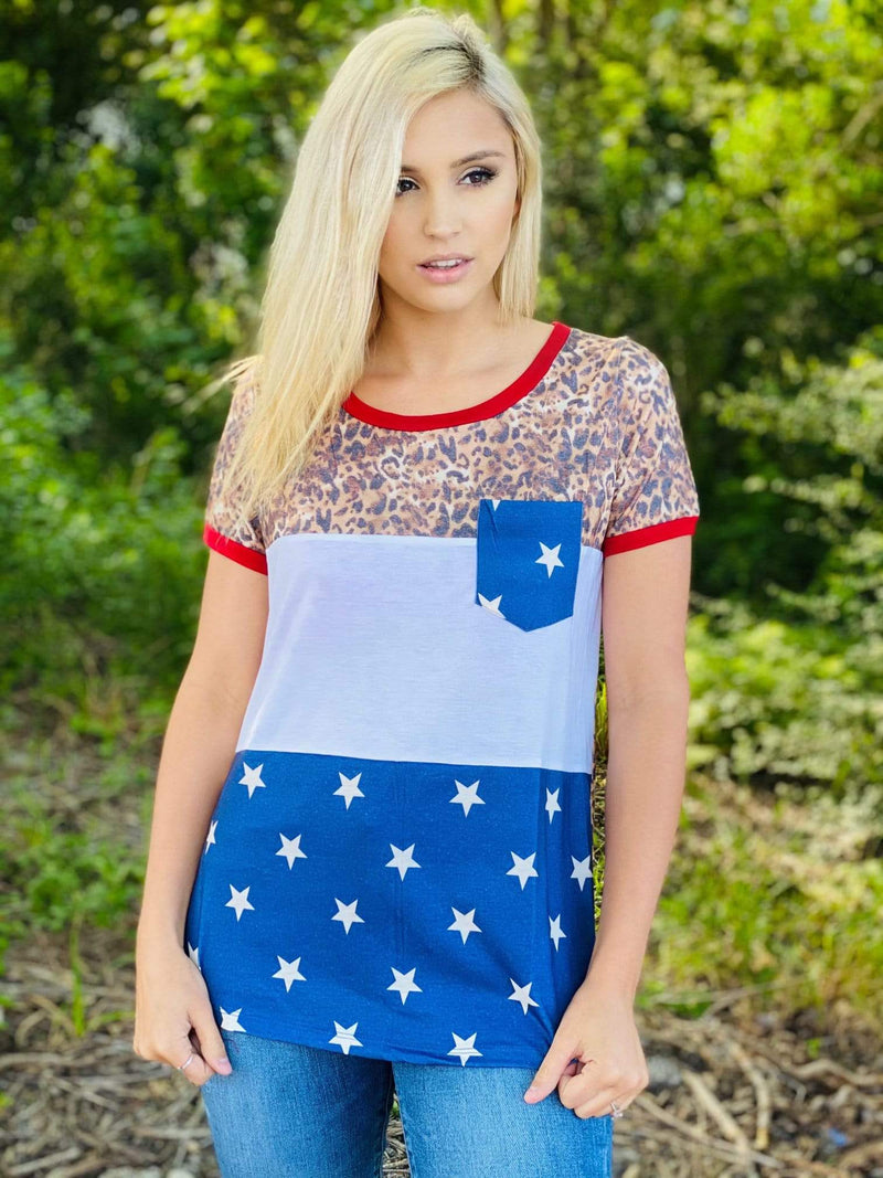 Leopard, Red, White, & Blue Colorblock Tops Rockin The Lace Boutique