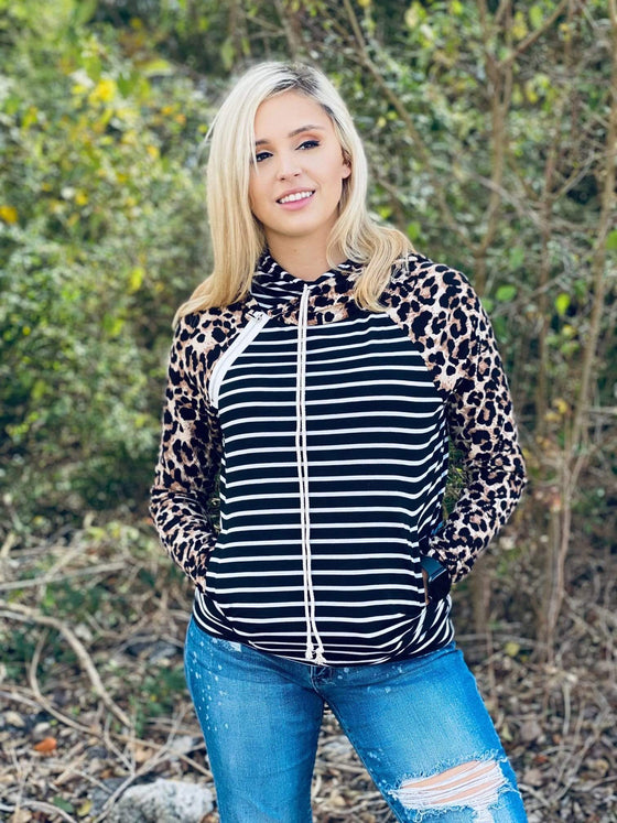Leopard & Stripe Hooded Top Clearance Rockin The Lace Boutique