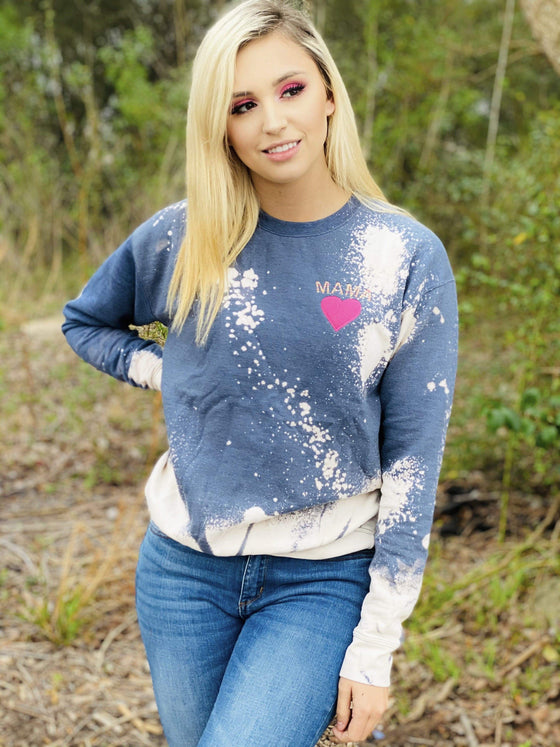MAMA - Pink Heart Sweatshirt Tops Rockin The Lace Boutique