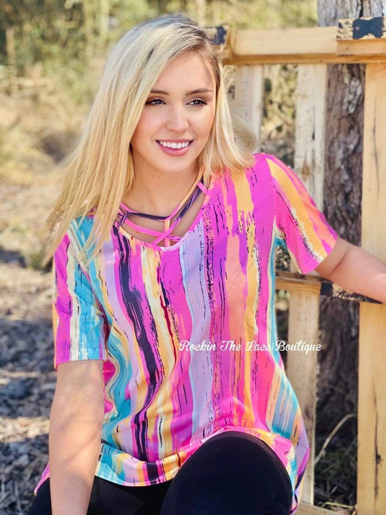 Multi Color Caged Top Tops Rockin The Lace Boutique